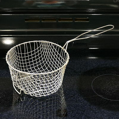 "VINTAGE Fry Basket Deep Fryer Metal Mesh Wire Strainer ~ 7½"" Diam by 4"" Depth"
