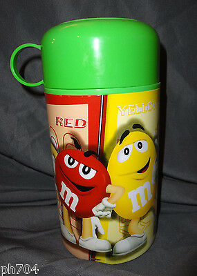M&M's insulated 11.5 oz container THERMOS with GREEN CAP NEW never used m&m