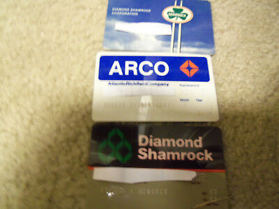 Old Gas Station Oil  Credit Cards, Shamrock, Arco  Lot Of 3