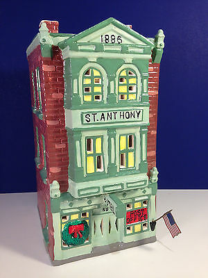 Dept 56 Snow Village ST. ANTHONY HOTEL w/ box Has Flag! Combine Shipping!
