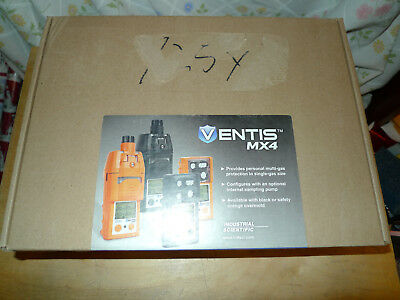 Ventis MX4 Multi Gas Monitor, 4-Gas O2 LEL H2S CO, Black Color, VTS-K1231100101