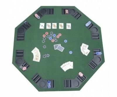"48"" Folding Poker & Blackjack Table Top 8 Player Octagon w/Cup Holders Green"