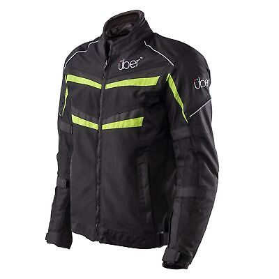 Uber Motorcycle Air Flow Vented Textile Breathable CE Armoured Jacket In Black
