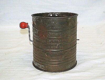Old Vintage Bromwell's 5 Cup Metal Measuring Sifter Kitchen Tool Red Knob USA