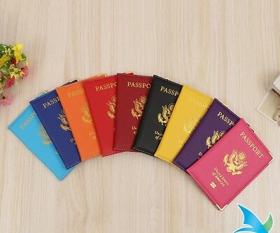 Leather US Passport Cover ID Holder Wallet Travel Case Handmade New