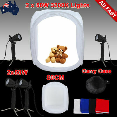"80CM 32"" Photography Photo Studio Soft Box Light Tent Cube Softbox Kit + Case"