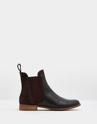 Joules 124530 Womens Westbourne Low Heel Chelsea Boot in Leather in Chocolate