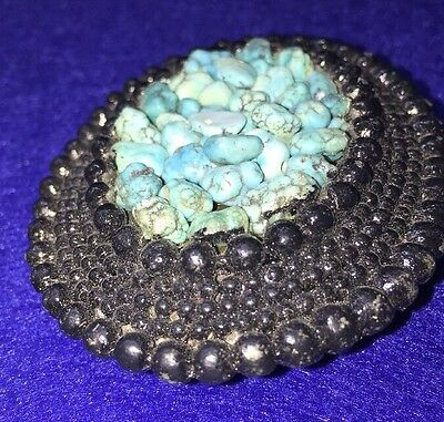 Retro Artisan Boho Western Old Forged Turquoise Chip Belt Buckle