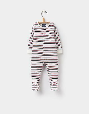 Joules 124452 Baby Boys Ziggy Printed Babygrow in 100% Cotton in Multi Stripe