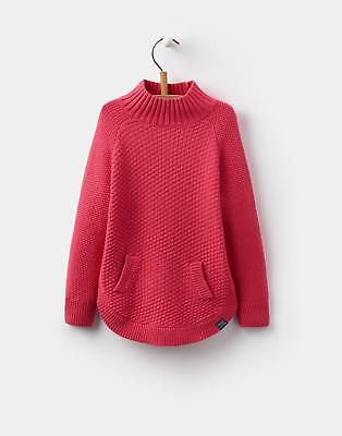 Joules 124399 Girls Mini Me Knitted Polo Neck Poncho in Warm pink