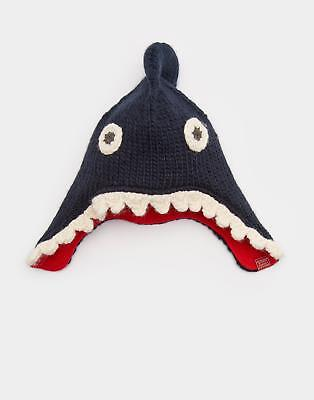 Joules 124482 Boys Chummy Knitted Fleece Lined Character Hat in Navy Shark