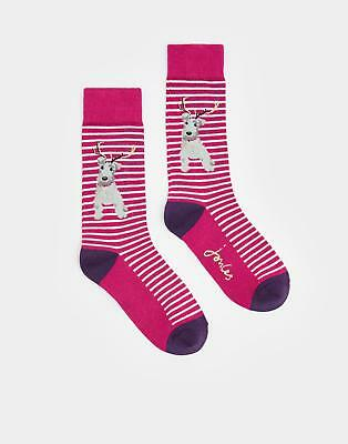 Joules 124511 Womens Brill Bamboo Sock in Christmas Dog One Size