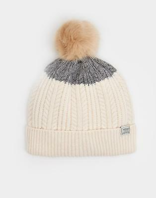 Joules 124505 Womens Bobble Knitted Beanie in Grey Block One Size