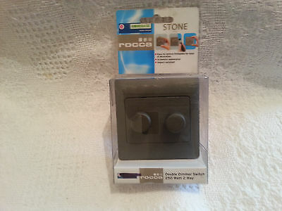 2 rocca 2 way double dimmer switch stone