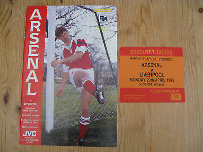 ARSENAL v LIVERPOOL . TICKET STUB & PROGRAMME . HIGHBURY 20.4.1992 .