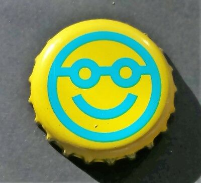12 Smiley Face Glasses Emoticon Bottle Tops Caps Crafts Emoji Yellow WKD Beer