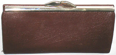 VINTAGE 1960s LADIES TAN BROWN REAL LEATHER MONEY PURSE WALLET RETRO ENGLAND