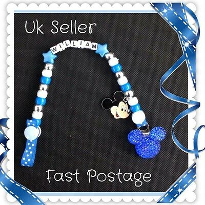 Boys Personalised Dummy Clip. With Or Without MAM adapter