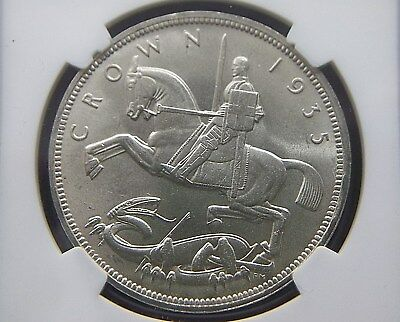 1935 Great Britain Silver Crown with Incuse Edge Lettering NGC MS 65