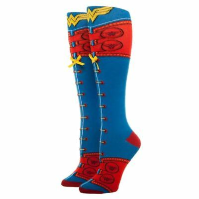 Official DC Comics Wonder Woman Lace Up Knee High Socks | UK Shoe Size 3-8