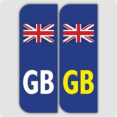 2 x GB FLAG Car Number Plate vinyl stickers