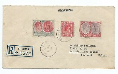 ST:KITTS & NEVIS: Registered cover to USA 1939. Arr.canc.
