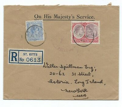 ST:KITTS & NEVIS: Registered cover to USA 1938. Arr.canc.