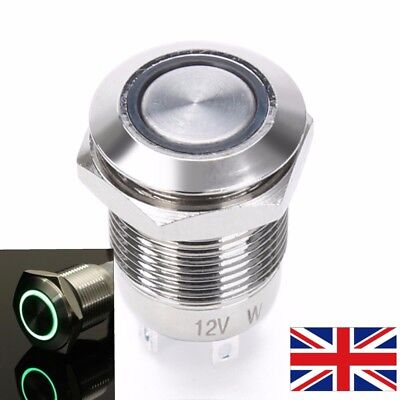 12mm LED Momentary Switch (12v) GREEN **UK seller** lightsaber saber part