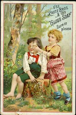 Trade Card 33 ~ GLOSS SOAP ~ Young Girl Put Her Hands Over Boys Eyes
