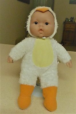 Berenguer Plush Baby Doll In Duck Suit - Plastic Head - Jc Toys