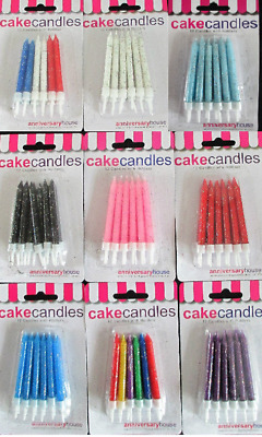 12 Glitter Birthday Candles & holders White Red Black Purple Pink Blue Multi