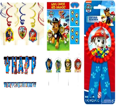 Paw Patrol Birthday Party Banner, Swill decoration, Award Ribbon, Game, Candles