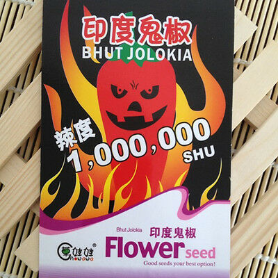 Spicy Ghost Peppers Chili Rare Sowing Bhut Jolokia Balcony Vegetable Seeds #