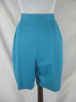Vtg 40s 50s Blue Turquoise Womens Vintage High Waist Pin Up Shorts W 29