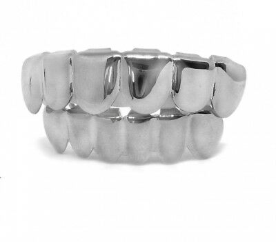 Grillzz Plain Chrom Silber plattiert Top & Bottom Hiphop Bling Grillzz Set