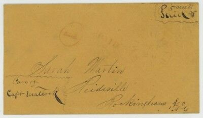 "Mr Fancy Cancel CSA STAMPLESS RED SMITHFIELD VA ""V"" IN CIRCLE PAID EX-KAUFMANN"