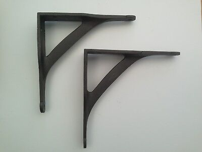 "Pair Cast Iron Shelf Brackets Industrial Vintage Iron Bridge Style Metal 7"" x 7"""