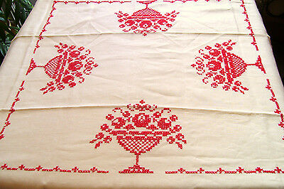 Red Cross Stitch on Off White Luncheon Table Cloth Urn of Flowers Vintage