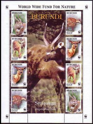 Burundi WWF Sitatunga Sheetlet of 2 sets / 8 stamps SC#774 a-d MI#1867-1870