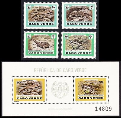 Cape Verde WWF Desert Island Lizards 4v + Accompanying MS SG#566-569+570