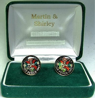 1965 Six pence cufflinks  real coins in Black & Colours