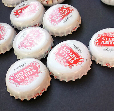 15 Stella Artois Bottle Tops Crown Caps Crafts Beer Red & White Man Cave Art