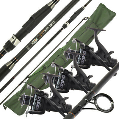 2 or 3 NGT Dynamic Carp 12ft 3pc Fishing Rods + 2/3 Dynamic 6000 Reels & Holdall