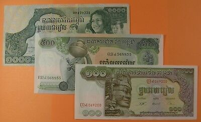 3 Colorful Cambodia Notes - Mint Condition