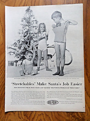 1955 Du Pont Nylon Dacron Ad Stretchables Make Santa's Job Easier  Children