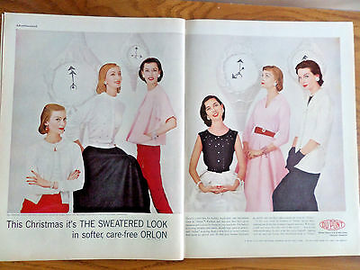 1955 Du Pont Orlon Ad  Christmas Sweaters Collection
