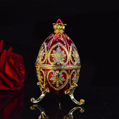 red or blue Easter egg trinket box Faberge egg home  garden decor and jewelry