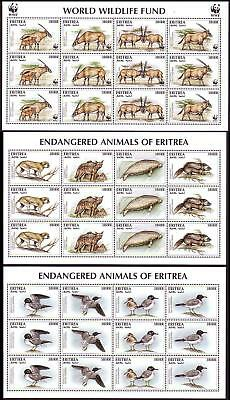 Eritrea WWF Beisa Oryx 3 Sheetlets including 2 without WWF logo SG#319-322