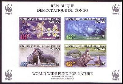 DR Congo WWF Common Hippo Miniature Sheet imperforated