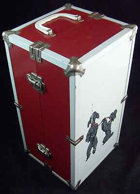 "15"" Doll Wardrobe Metal Trunk Carry Case Union Pacific Railroad Sticker Poodles"